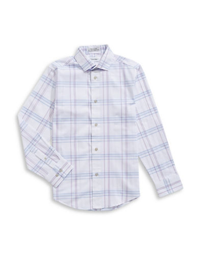 Calvin Klein Modern-Fit Plaid Dress Shirt-WHITE-12