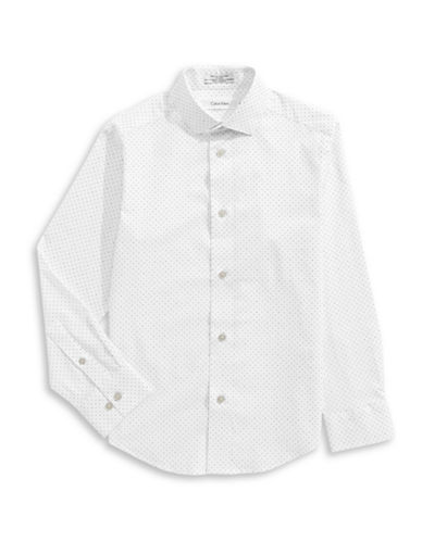 Calvin Klein Modern Fit Stretch Mini Dot Shirt-WHITE-8