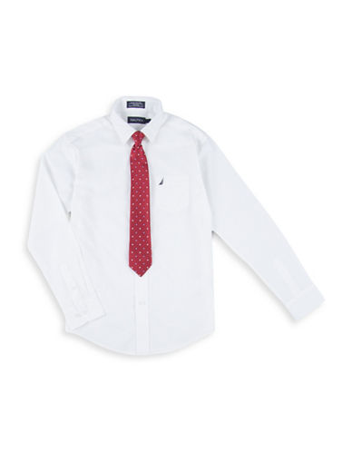 Nautica Shirt and Plaid Tie Set-WHITE-8