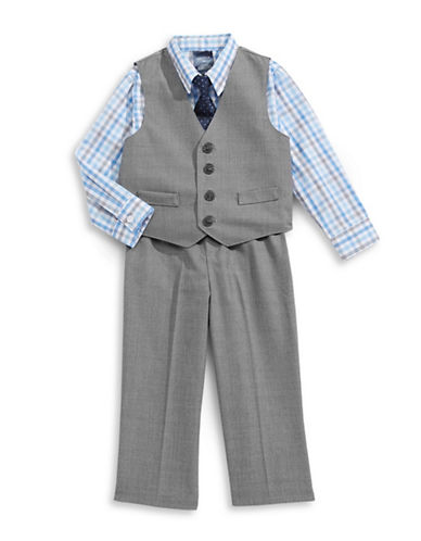 Nautica Four-Piece Sharkskin Formalwear Set-GREY-3-6 Months