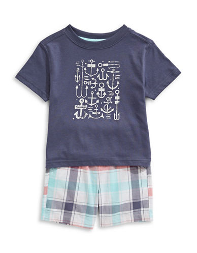 Nautica Nautical Graphic T-Shirt and Plaid Short Set-BLUE-12 Months