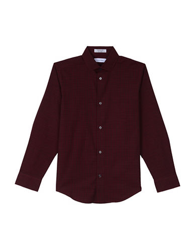 Calvin Klein Checkered Sport Shirt-DARK RED-14-16