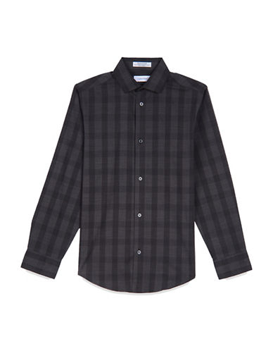 Calvin Klein Plaid Sport Shirt-GREY-X-Large