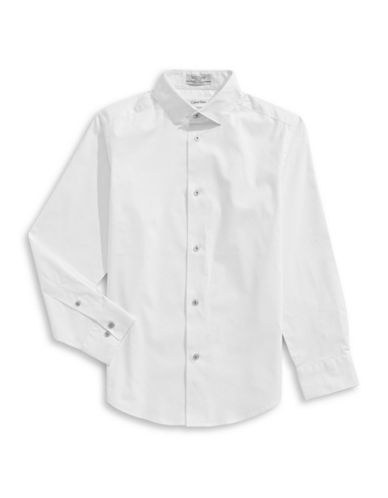Calvin Klein Classic Button-Down Shirt-WHITE-8