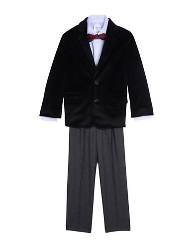 Nautica Four-Piece Velvet Jacket Suit Set-BLACK-3