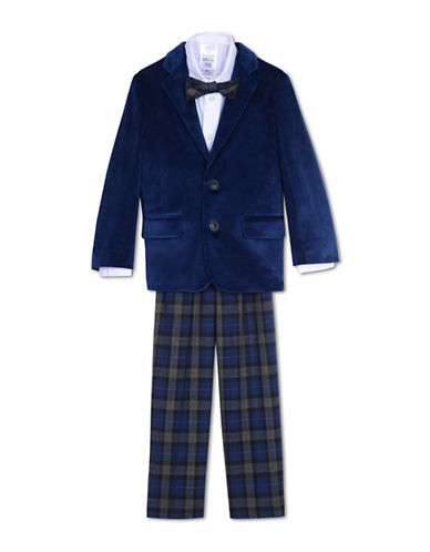 Nautica Four-Piece Velvet Jacket Suit Set-BLUE-3