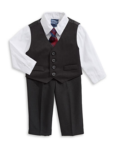 Nautica Four-Piece Dress Shirt, Vest, Pants and Necktie Set-BLACK-12 Months