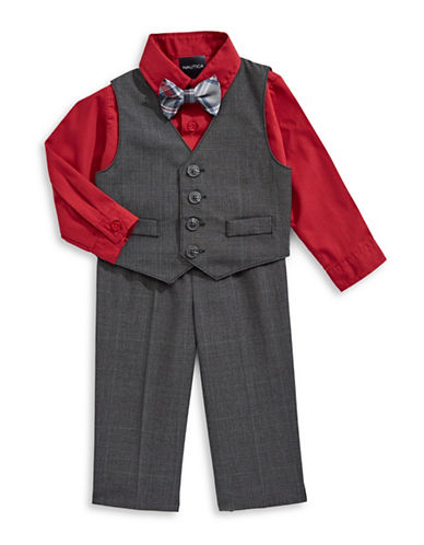 Nautica Four-Piece Dress Shirt, Plaid Vest, Pants and Bowtie Set-GREY-6-9 Months
