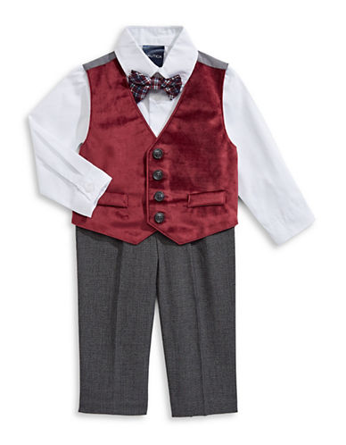 Nautica Four-Piece Dress Shirt, Velvet Vest, Small Check Pants and Plaid Bowtie Set-RED-24 Months