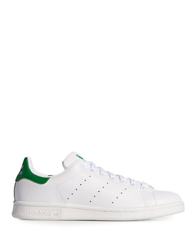 Adidas Originals Mens Stan Smith Leather Sneakers-WHITE/GREEN-11.5