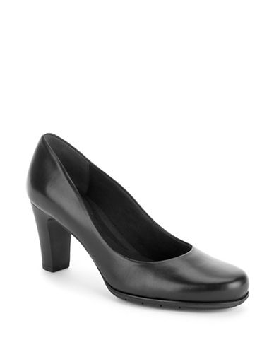 Rockport Total Motion Leather Pumps-BLACK LEATHER-8W