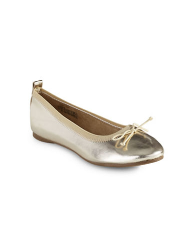 Kenneth Cole Reaction Metallic Ballet Flats-GOLD-4