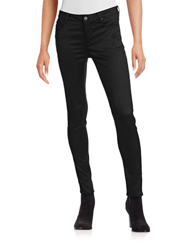 Design Lab Lord & Taylor Solid Skinny Jeans-BLACK-28