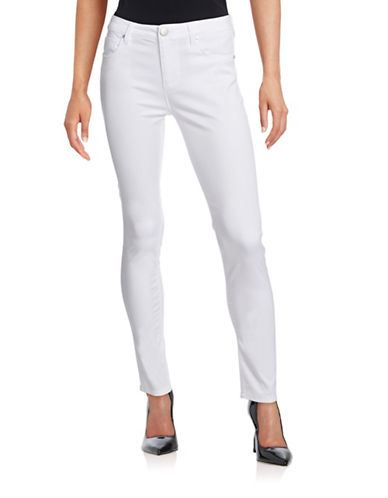 Design Lab Lord & Taylor Solid Skinny Jeans-WHITE-30