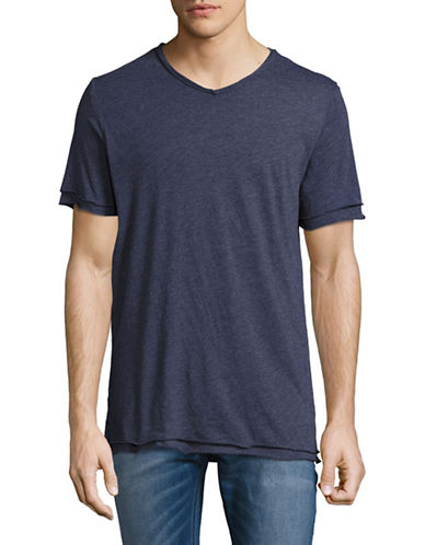 Velvet By Graham And Spencer Raw Edge V-Neck T-Shirt-BLUE-Medium