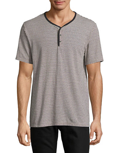 Velvet By Graham And Spencer Double Stripe Henley-BEIGE-Large