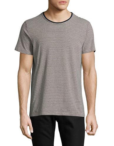 Velvet By Graham And Spencer Double Stripe T-Shirt-BEIGE-Large