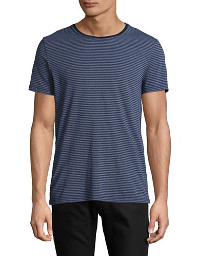 Velvet By Graham And Spencer Double Stripe T-Shirt-BLUE-Large