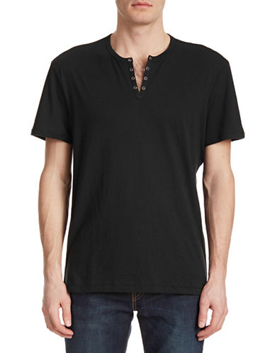 John Varvatos Star U.S.A. Split-Neck Eyelet T-Shirt-BLACK-X-Small 87997507_BLACK_X-Small