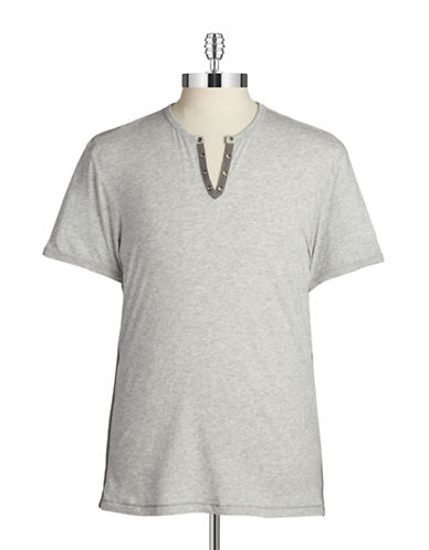 John Varvatos Star U.S.A. Split-Neck Cotton Tee-GREY-Large