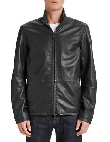 John Varvatos Star U.S.A. Leather Zip Front Jacket-BLACK-X-Large