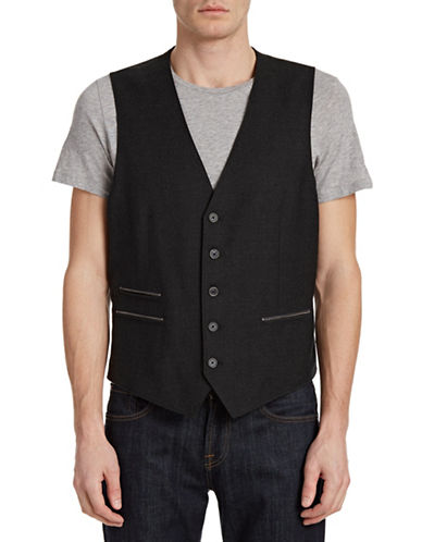 John Varvatos Star U.S.A. Wool-Blend Vest-GREY FLANNEL-38