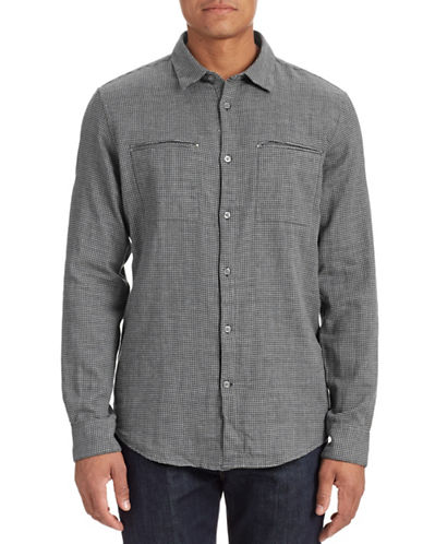 John Varvatos Star U.S.A. Check Print Sport Shirt-WET SLATE-Large
