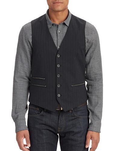 John Varvatos Star U.S.A. Striped Zip-Pocket Vest-MIDNIGHT-42