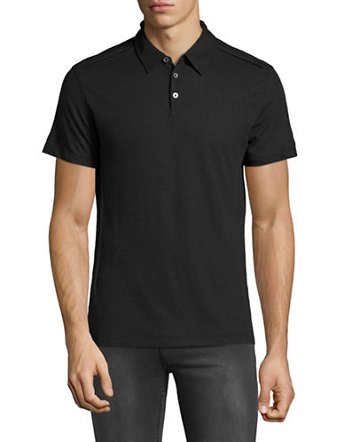 John Varvatos Star U.S.A. Luxe Pintucked Polo-BLACK-Medium