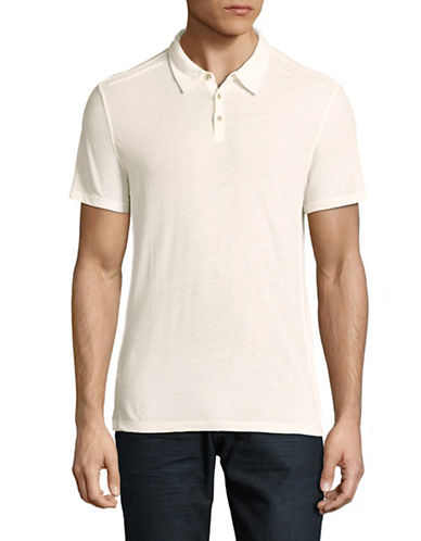 John Varvatos Star U.S.A. Luxe Pintucked Polo-NATURAL-Medium