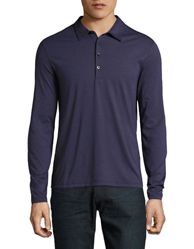 John Varvatos Star U.S.A. Long Sleeve Soft Collar Knit Polo-PURPLE-XX-Large
