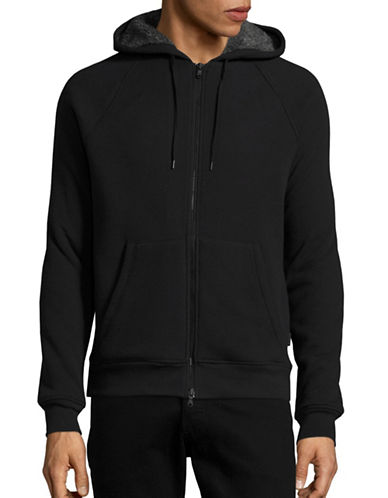John Varvatos Star U.S.A. Sherpa-Lined Waffle Knit Hoodie-BLACK-X-Large 88652205_BLACK_X-Large