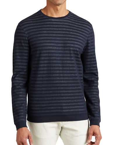 John Varvatos Star U.S.A. Striped Knit Sweatshirt-BLUE-Small