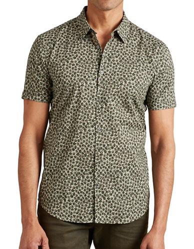 John Varvatos Star U.S.A. Slim-Fit Printed Short Sleeve Shirt-GREEN-X-Large