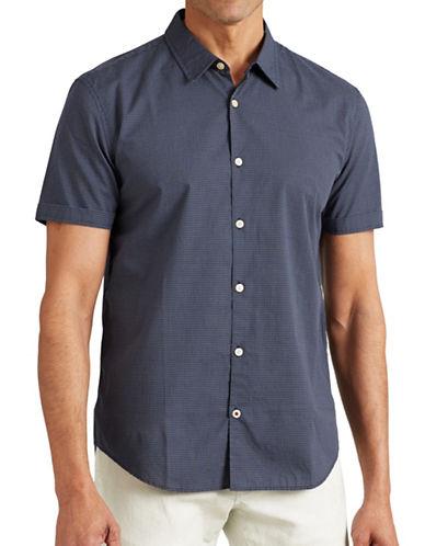 John Varvatos Star U.S.A. Slim-Fit Printed Short Sleeve Shirt-NAVY-Large