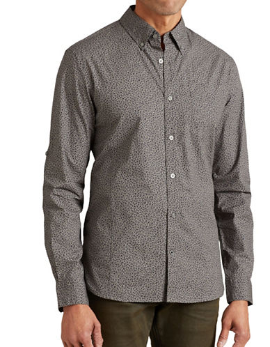 John Varvatos Star U.S.A. Slim-Fit Printed Roll-Sleeve Shirt-GREY-Small