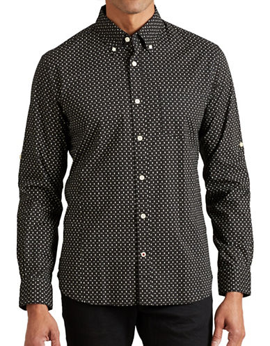 John Varvatos Star U.S.A. Slim-Fit Printed Roll-Sleeve Shirt-BLACK-Small
