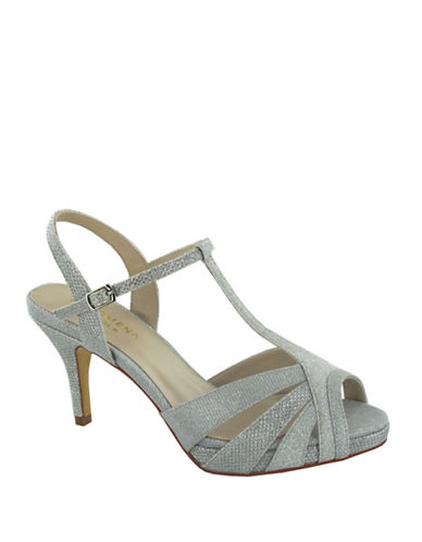 Menbur Dudar T-Strap Glitter Sandals-SILVER-6