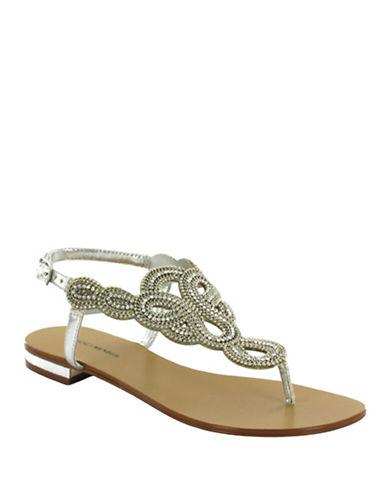 Menbur Gazania Ornamented Thong Sandals-SILVER-7