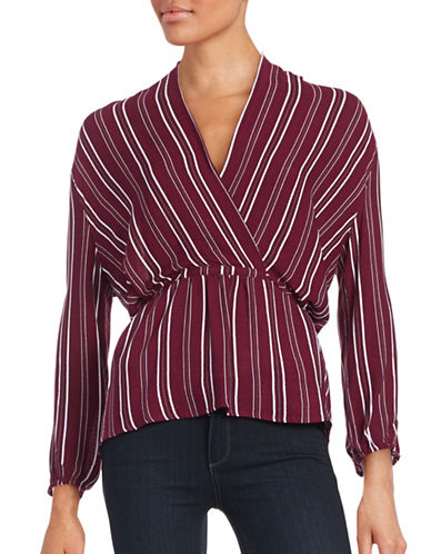 Design Lab Lord & Taylor Striped Surplice Top-RED-Large 88665408_RED_Large