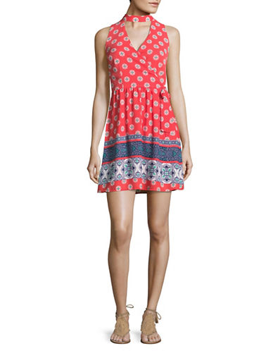 Design Lab Lord & Taylor Printed Cut-Out Choker Dress-BLUE-Large