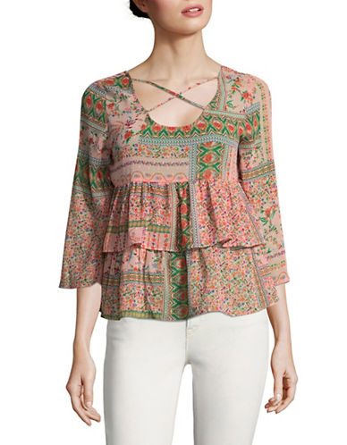 Design Lab Lord & Taylor Criss-Cross Ruffled Top-PINK-Large