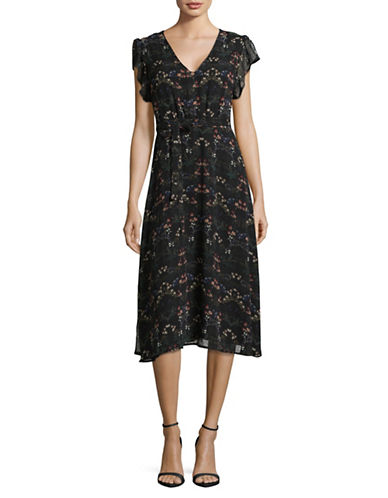 Design Lab Lord & Taylor Floral V-Neck Midi Dress-BLACK FLORAL-Medium