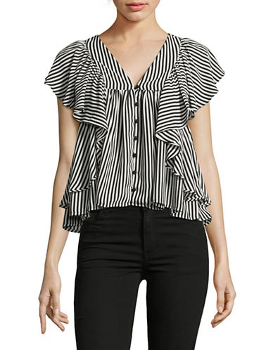 Design Lab Lord & Taylor Ruffle Shoulder Buttoned Crop Top-BLACK/WHITE-Small