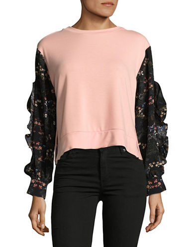 Design Lab Lord & Taylor Floral Sleeve Crop Top-PINK/BLACK-Medium
