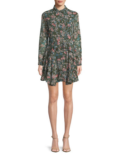 Design Lab Lord & Taylor Sharkbite Ruffle Button-Down Dress-GREEN-Medium