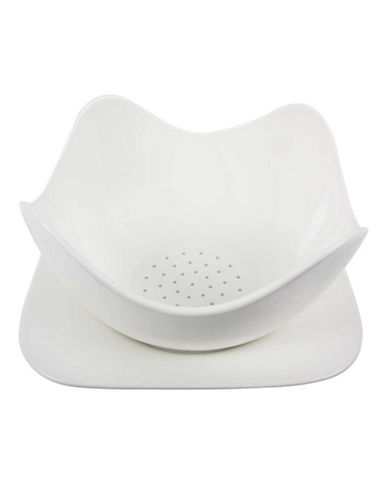 Maxwell & Williams Basic White Berry Basket and Plate Set-WHITE-One Size