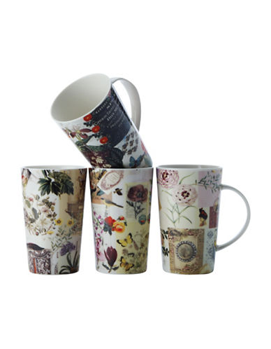 Maxwell & Williams Four-Pack Vintage Collage Print Mugs-ASSORTED-One Size