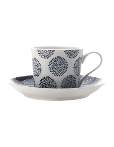 Maxwell & Williams Four-piece Indigo Patterned Porcelain Cup and Saucer Set-INDIGO-One Size