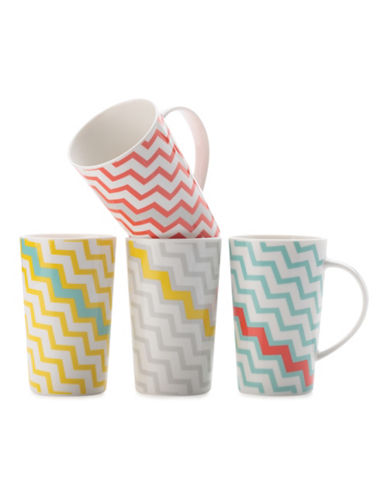 Maxwell & Williams Set of Four Chevron Colour Bolt Mugs-ASSORTED-One Size